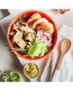 Oppskrift: Quinoa bowl med reker og wasabi-dipp