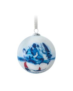 Hadeland Glassverk Julekule Nisse Med Slede