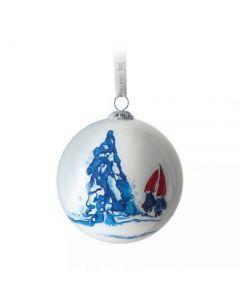 Hadeland Glassverk Julekule Nisse Og Juletreet