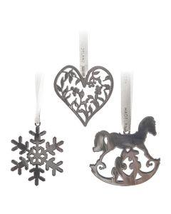 Hadeland Glassverk Marias Jul Juletrepynt Sølv 3-pk, Hjerte, Snøfnugg, Gyngehest