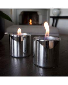 Tenderflame Lilly 8 Cm 2-Pk Sølv Inkl 0,5l Fuel